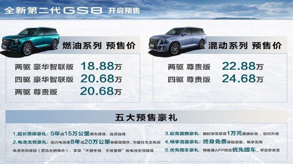 новый gac gs8 цены